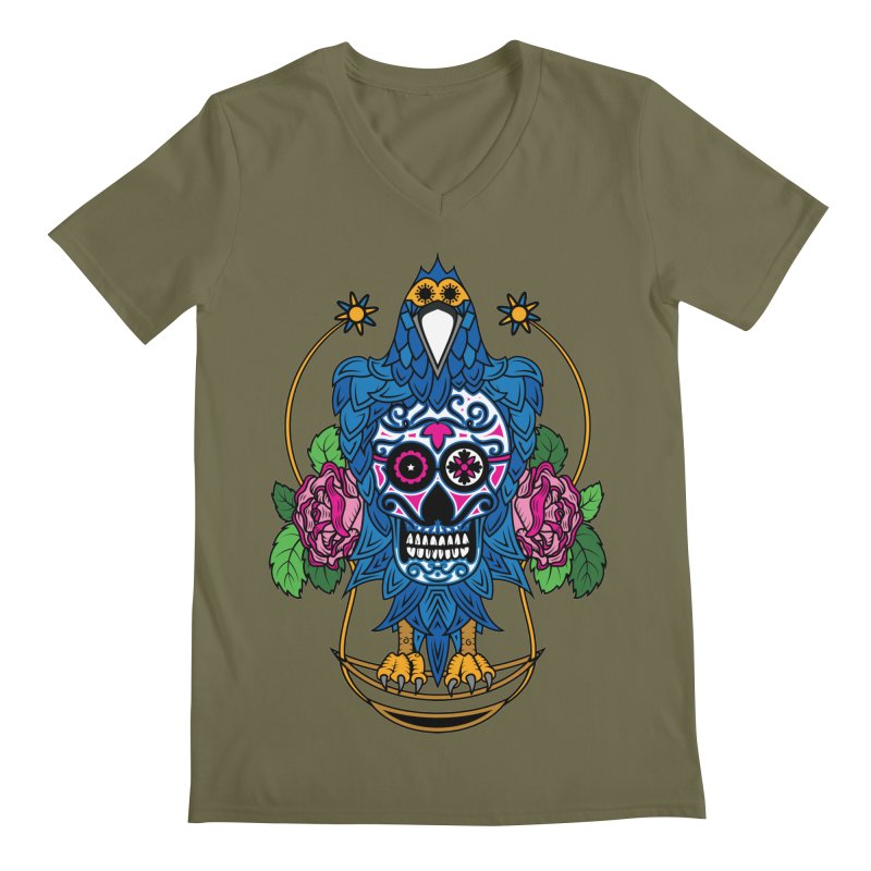 Sugar Raven Skull Men's V-Neck by thebraven's Artist Shop
