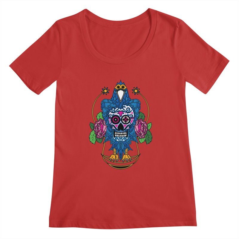 Sugar Raven Skull Women's Scoopneck by thebraven's Artist Shop