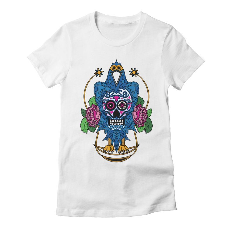 Sugar Raven Skull Women's Fitted T-Shirt by thebraven's Artist Shop