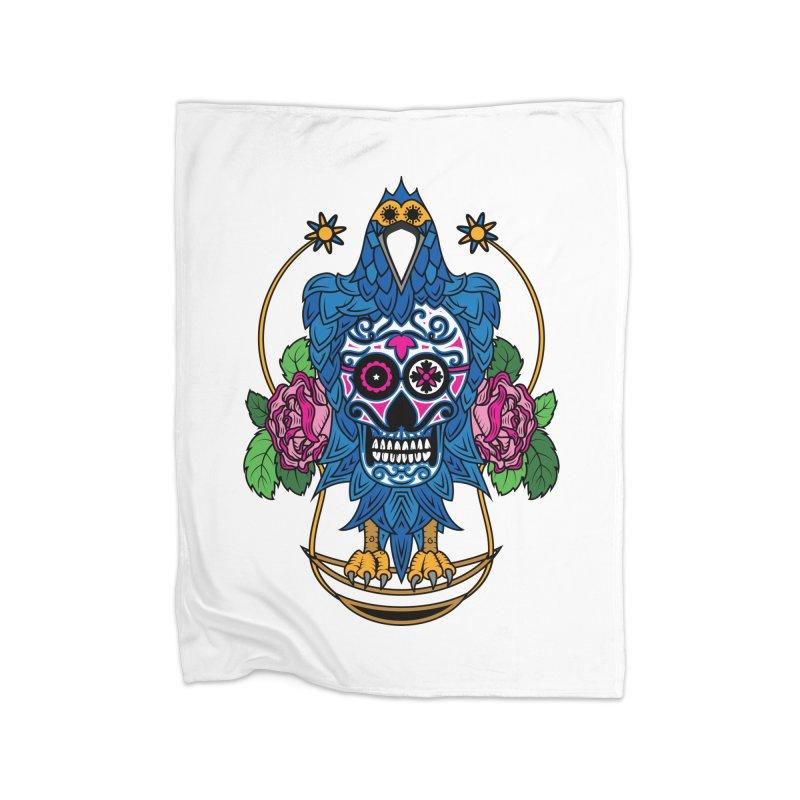 Sugar Raven Skull Home Fleece Blanket Blanket by thebraven's Artist Shop