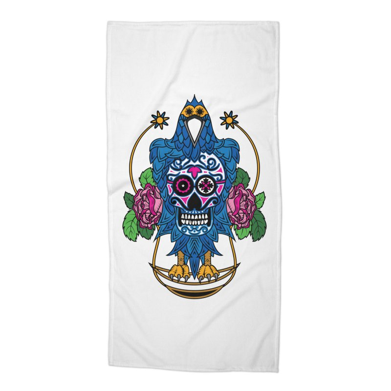 Sugar Raven Skull Accessories Beach Towel by thebraven's Artist Shop