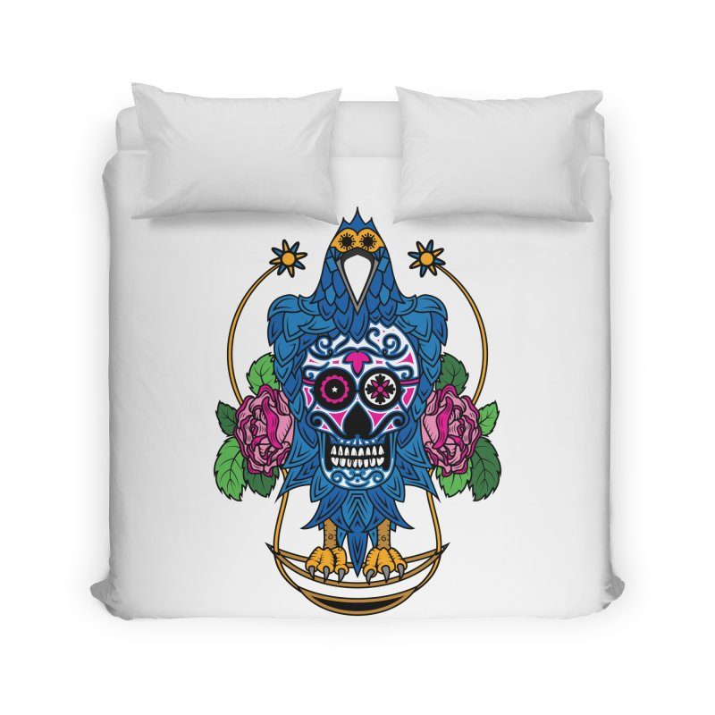 Sugar Raven Skull Home Duvet by thebraven's Artist Shop