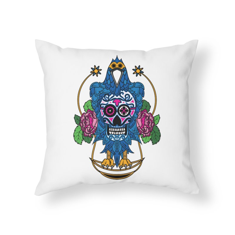 Sugar Raven Skull Home Throw Pillow by thebraven's Artist Shop