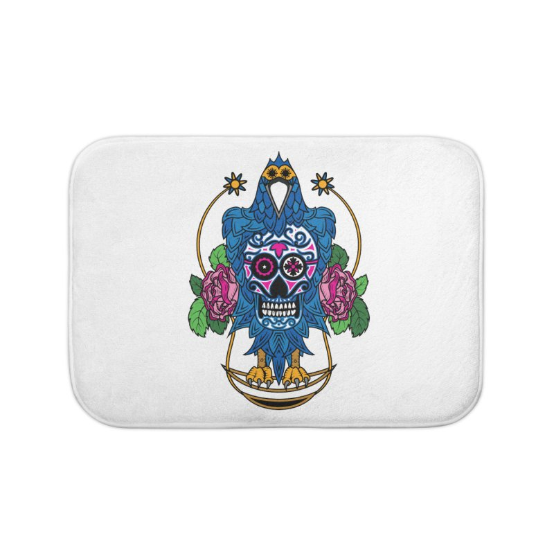 Sugar Raven Skull Home Bath Mat by thebraven's Artist Shop