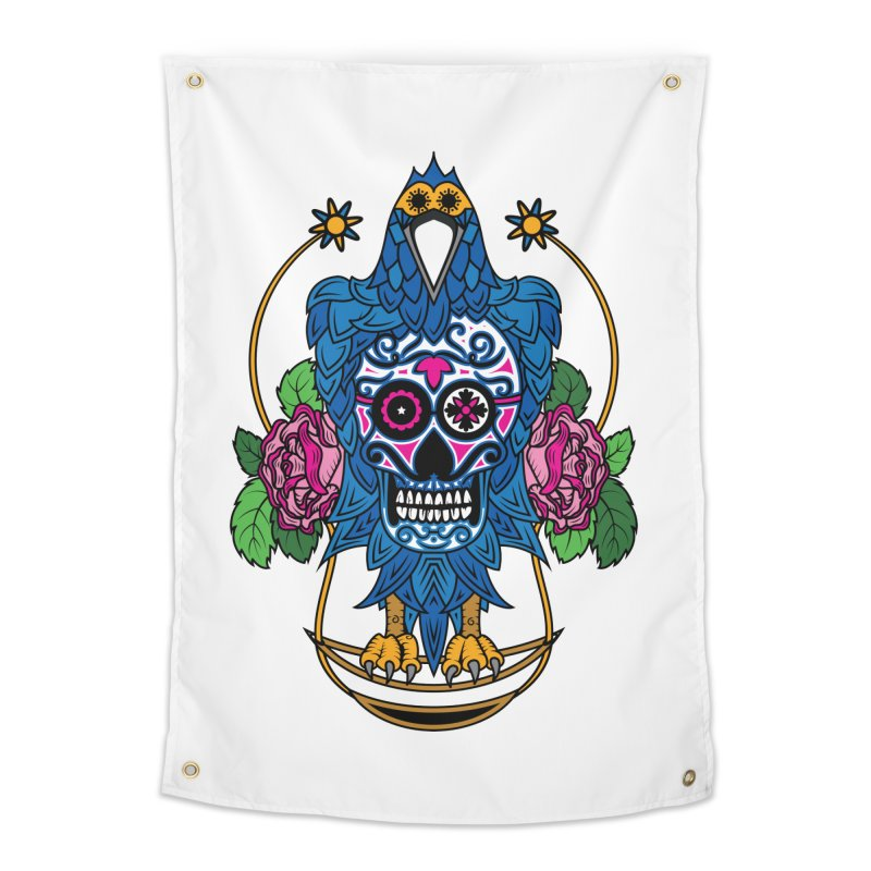 Sugar Raven Skull Home Tapestry by thebraven's Artist Shop