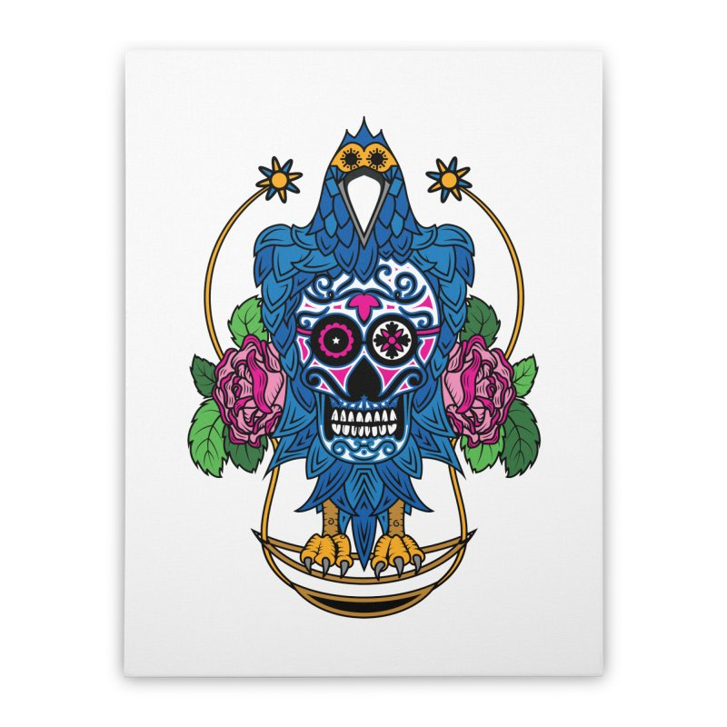 Sugar Raven Skull Home Stretched Canvas by thebraven's Artist Shop