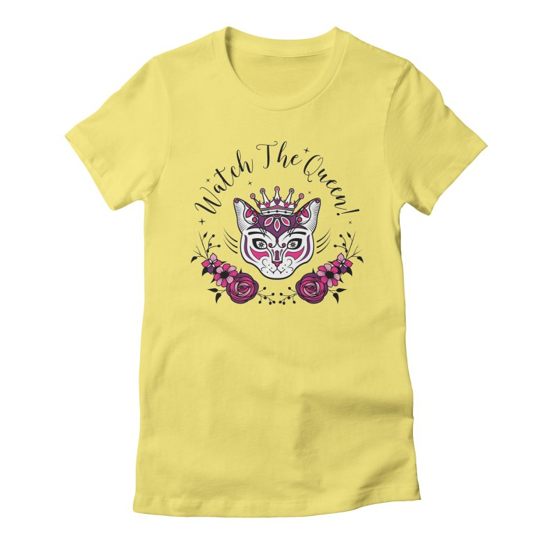 Cat Queen  Women's Fitted T-Shirt by thebraven's Artist Shop