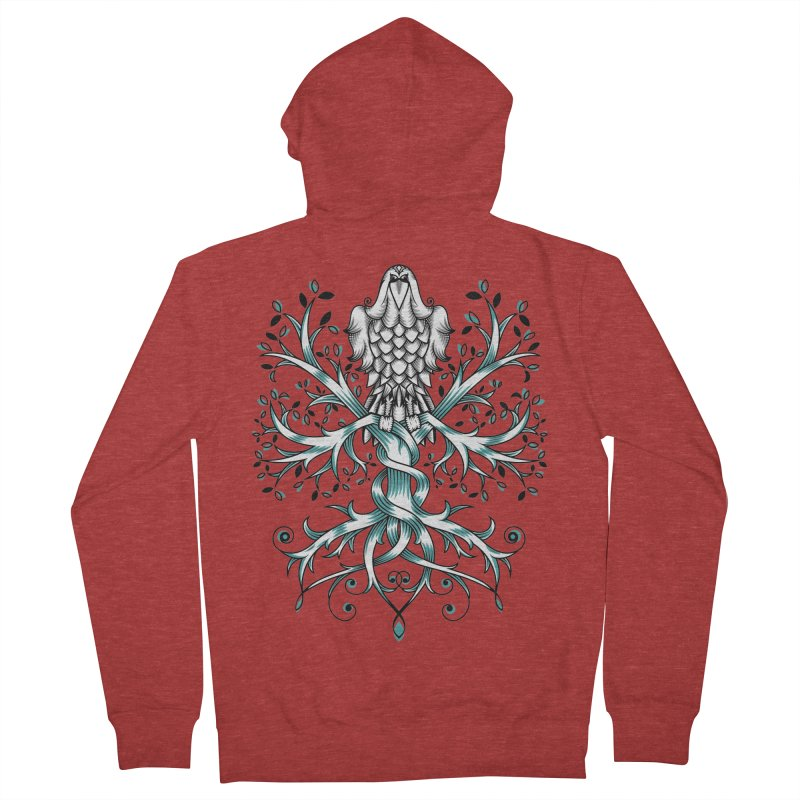 Raven & Tree of Life Men's French Terry Zip-Up Hoody by thebraven's Artist Shop