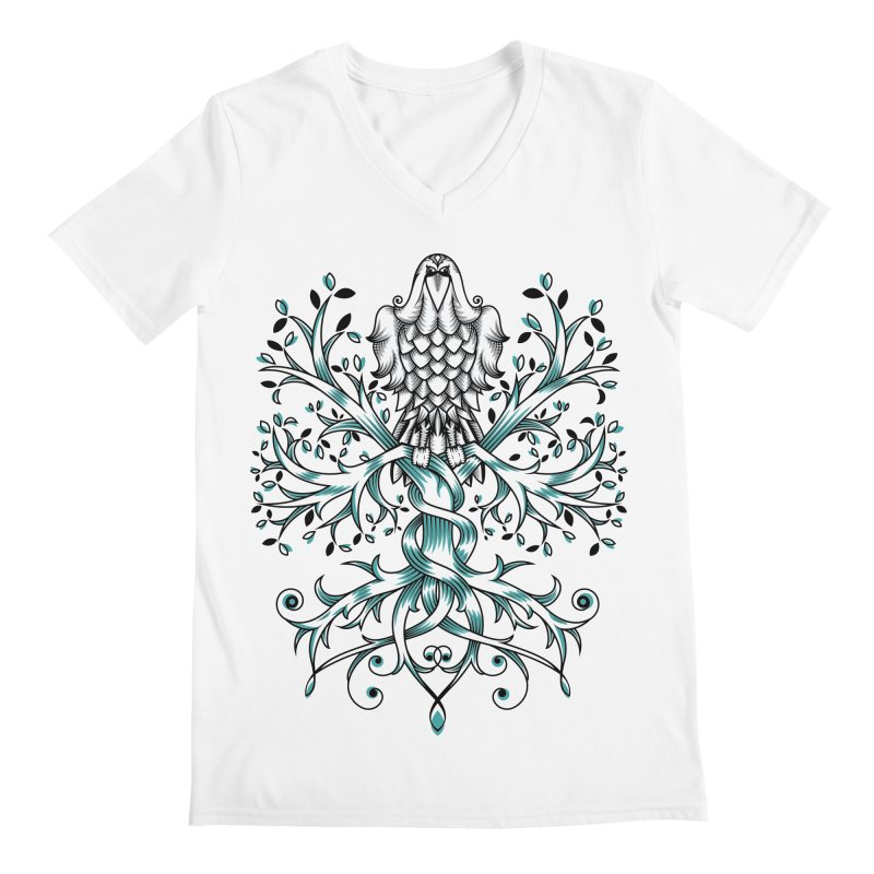 Raven & Tree of Life Men's Regular V-Neck by thebraven's Artist Shop