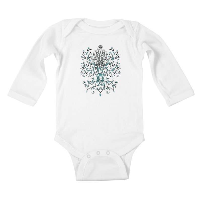 Raven & Tree of Life Kids Baby Longsleeve Bodysuit by thebraven's Artist Shop