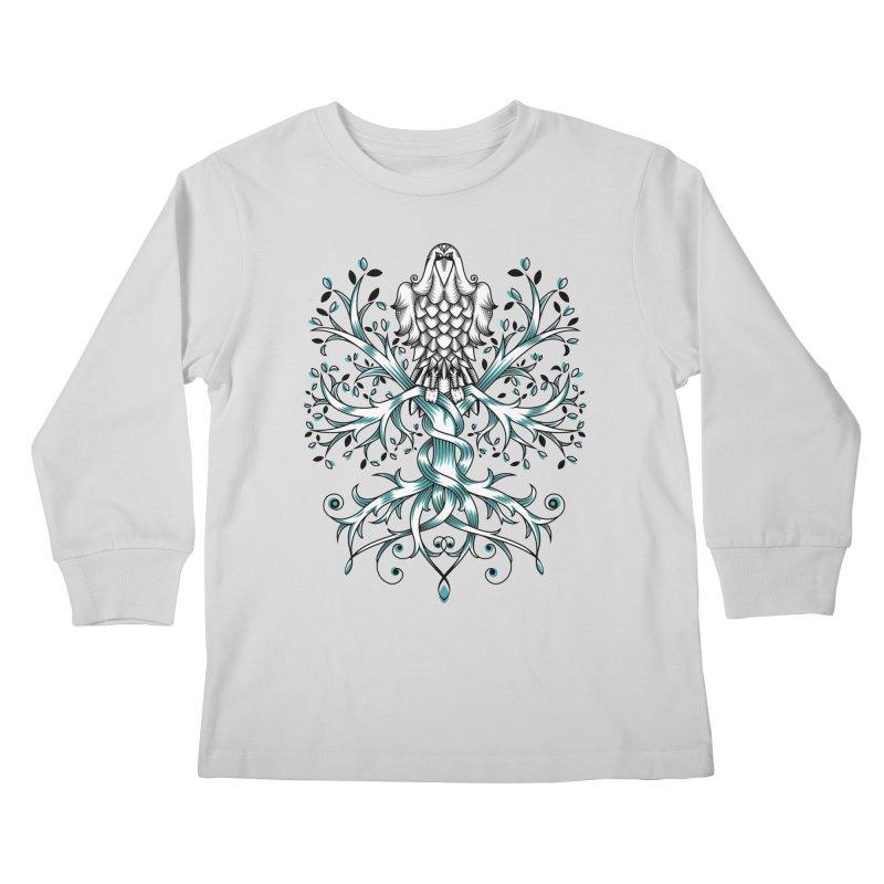 Raven & Tree of Life Kids Longsleeve T-Shirt by thebraven's Artist Shop