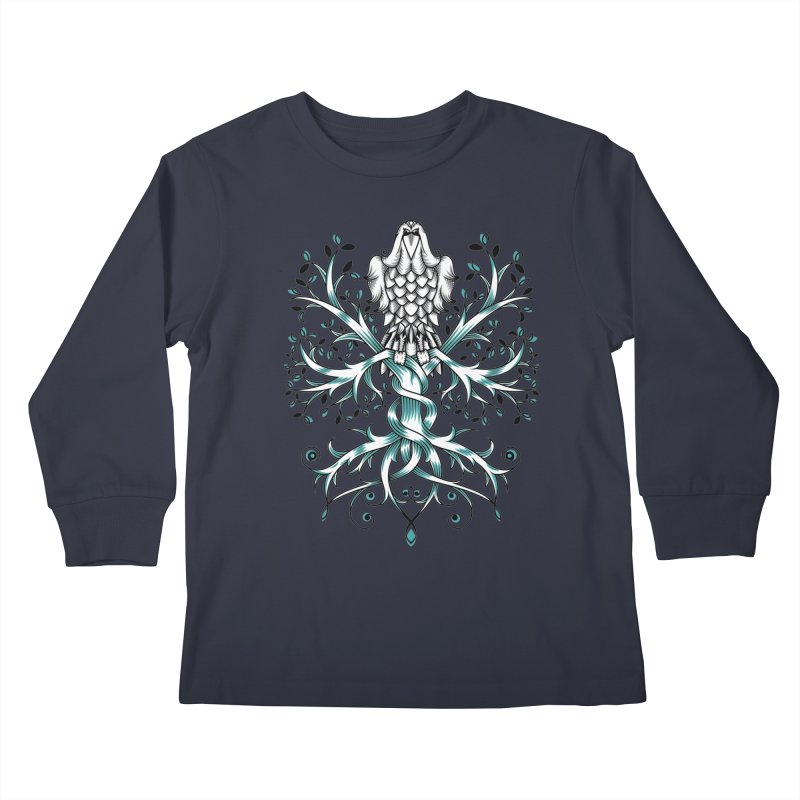 Raven & Tree of Life Kids Longsleeve T-Shirt by thebraven's Artist Shop