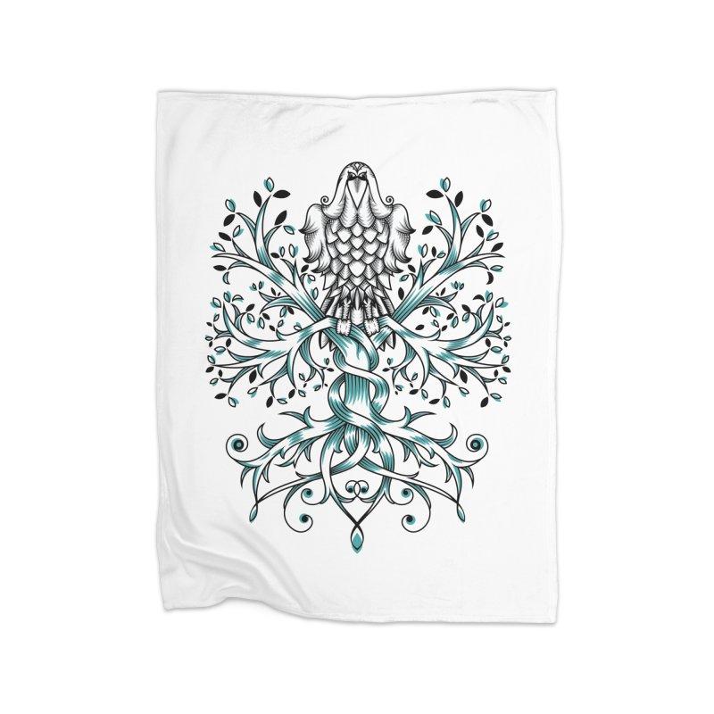 Raven & Tree of Life Home Fleece Blanket Blanket by thebraven's Artist Shop