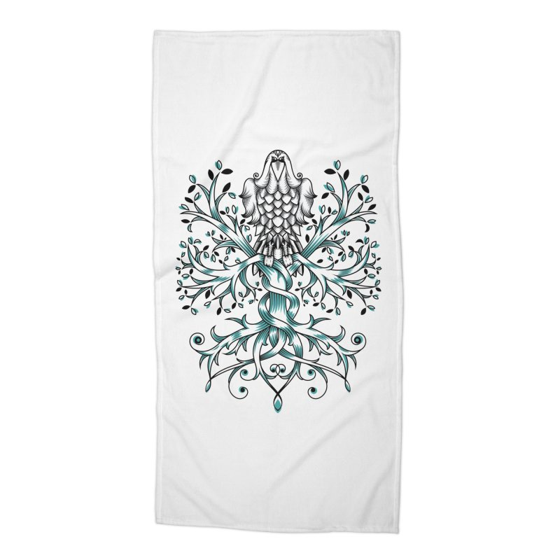 Raven & Tree of Life Accessories Beach Towel by thebraven's Artist Shop