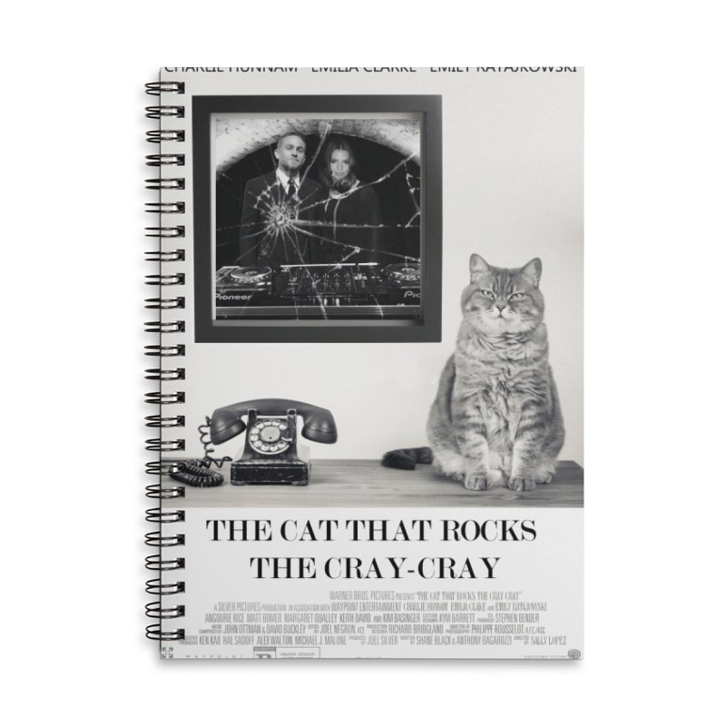 The Cat That Rocks The Cray-Cray Poster Accessories Lined Spiral Notebook by The Brown Carpet Podcast