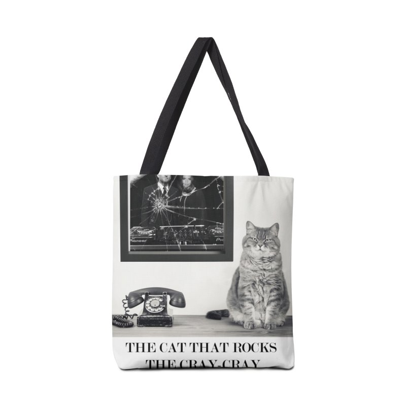 The Cat That Rocks The Cray-Cray Poster Accessories Tote Bag Bag by The Brown Carpet Podcast