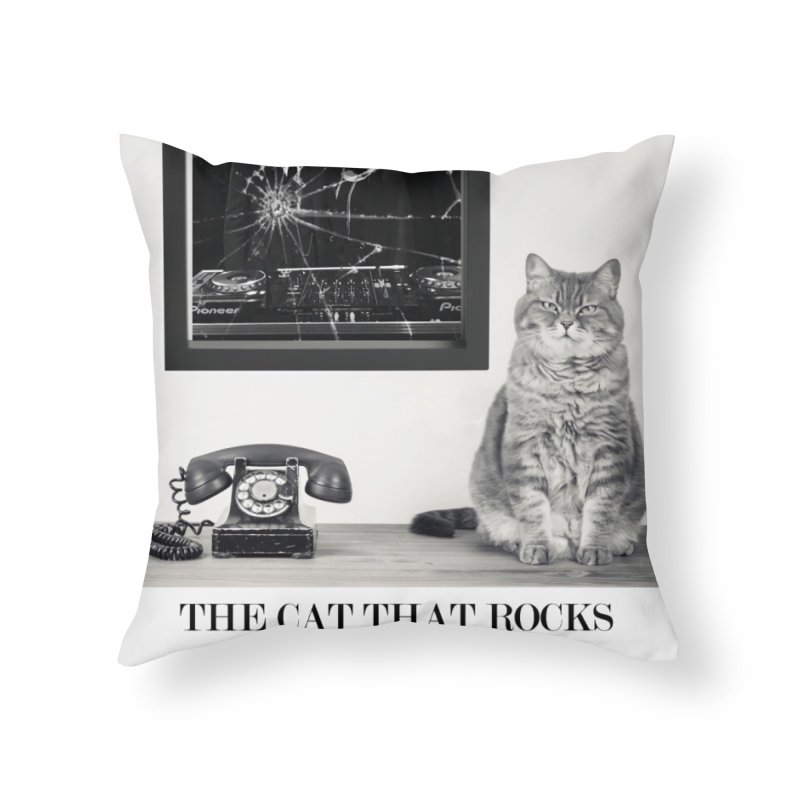 The Cat That Rocks The Cray-Cray Poster Home Throw Pillow by The Brown Carpet Podcast