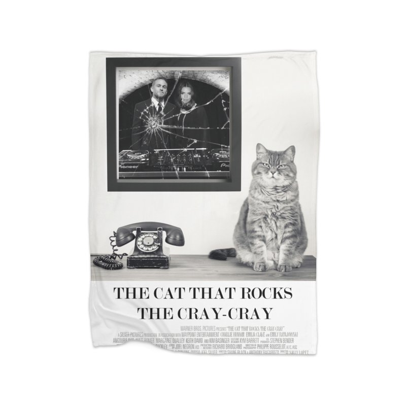 The Cat That Rocks The Cray-Cray Poster Home Fleece Blanket Blanket by The Brown Carpet Podcast