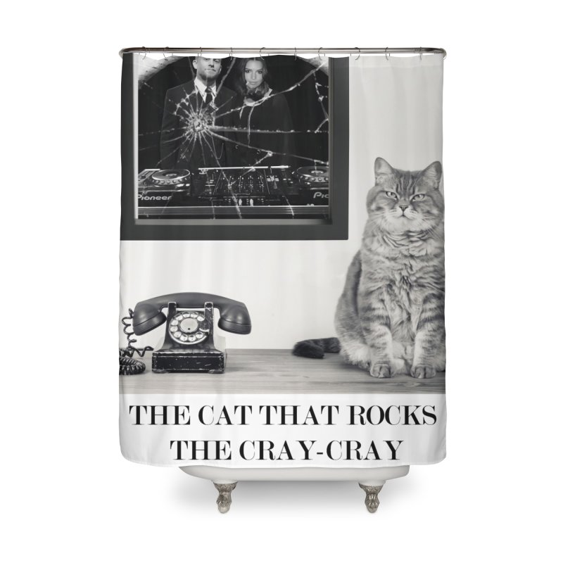 The Cat That Rocks The Cray-Cray Poster Home Shower Curtain by The Brown Carpet Podcast
