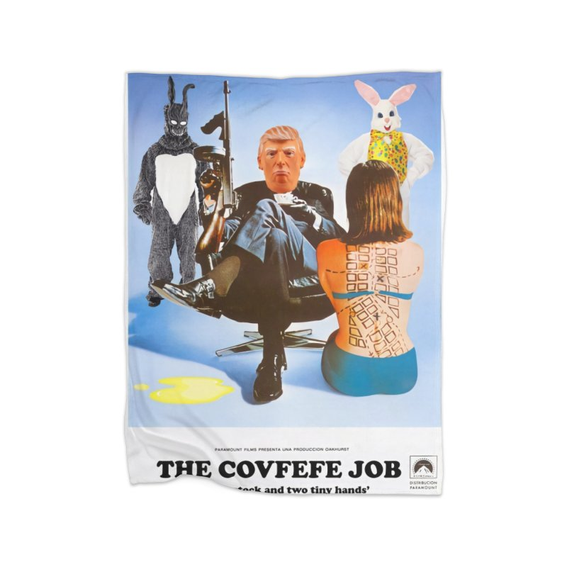 The Covfefe Job Poster Home Fleece Blanket Blanket by The Brown Carpet Podcast