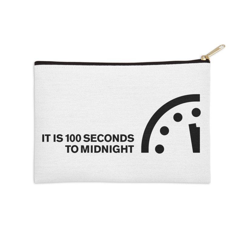 100 Tagline Clock Black Accessories Zip Pouch by Bulletin of the Atomic Scientists' Artist Shop