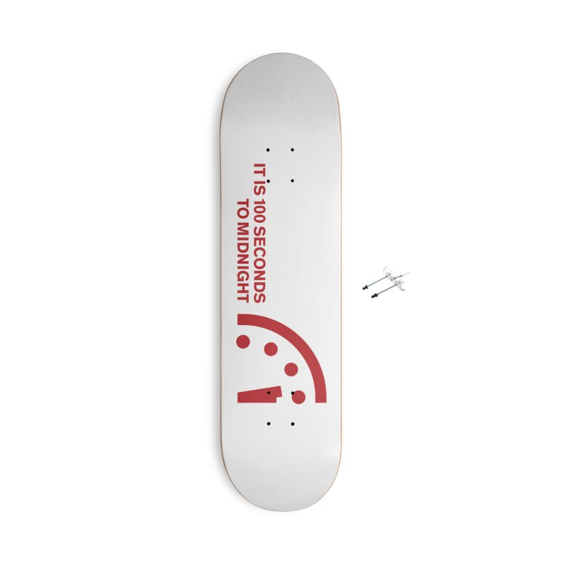 100 Tagline Clock Red Accessories Skateboard by Bulletin of the Atomic Scientists' Artist Shop