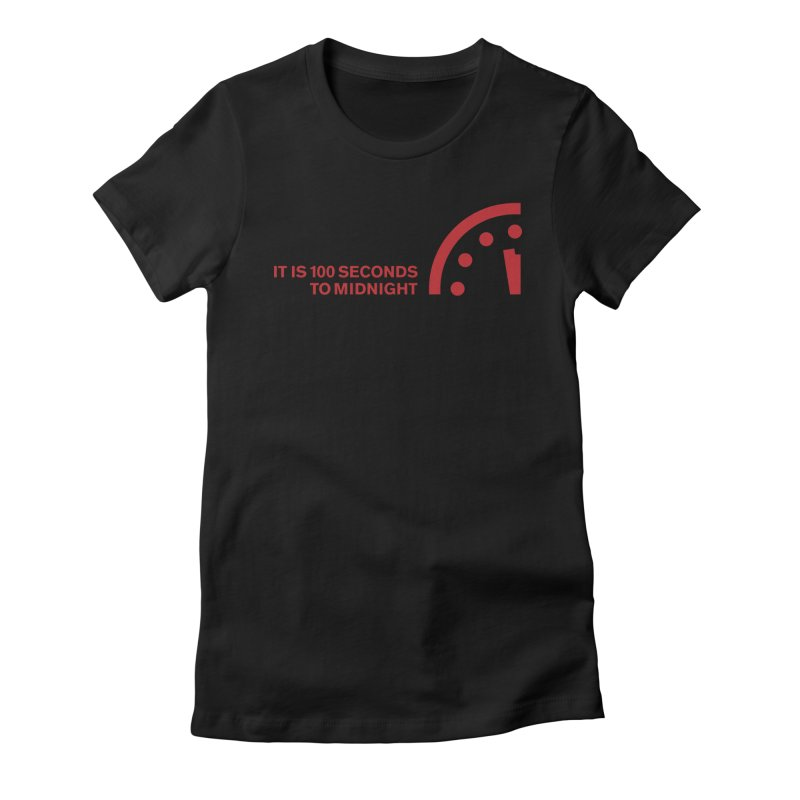 100 Tagline Clock Red Women's T-Shirt by Bulletin of the Atomic Scientists' Artist Shop
