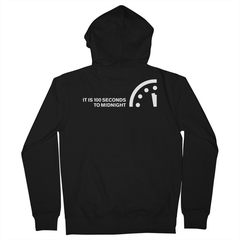100 Tagline Clock White Men's Zip-Up Hoody by Bulletin of the Atomic Scientists' Artist Shop