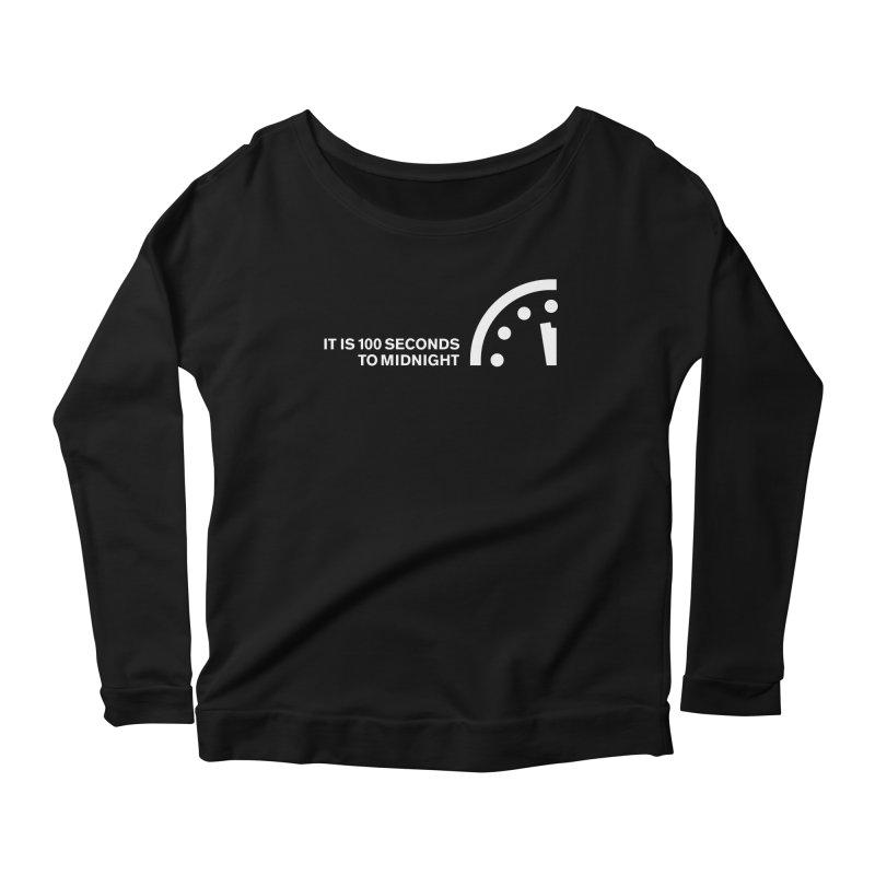 100 Tagline Clock White Women's Longsleeve T-Shirt by Bulletin of the Atomic Scientists' Artist Shop