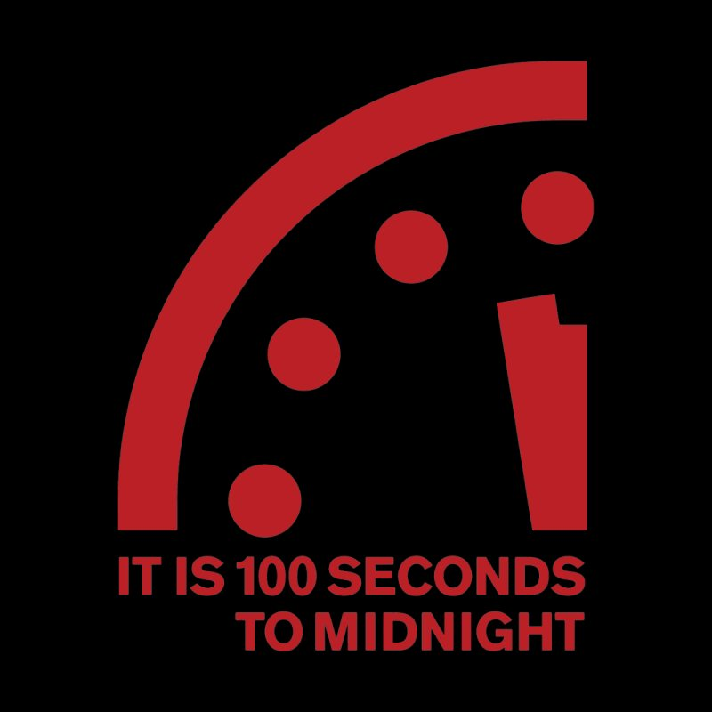100 Tagline Clock Red Accessories Face Mask by Bulletin of the Atomic Scientists' Artist Shop