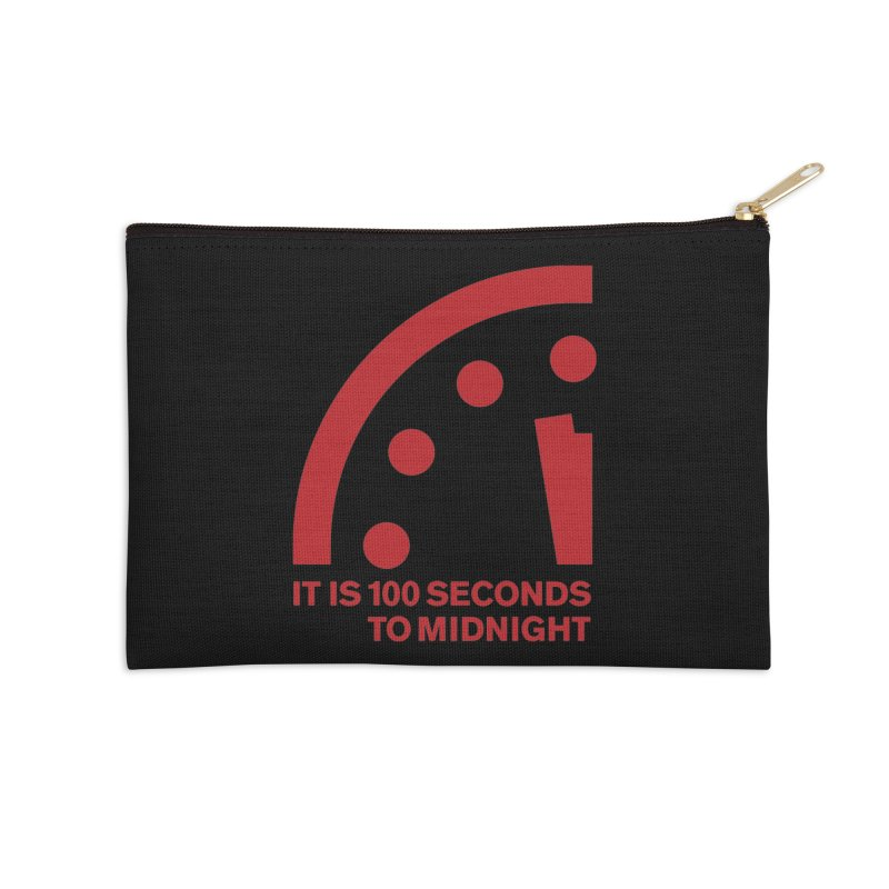 100 Tagline Clock Red Accessories Zip Pouch by Bulletin of the Atomic Scientists' Artist Shop
