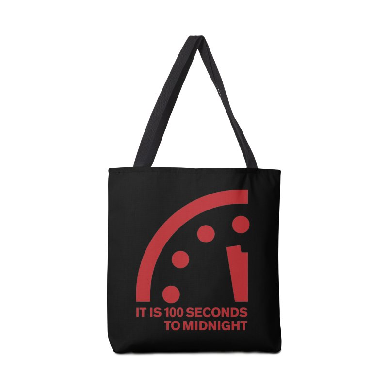 100 Tagline Clock Red Accessories Bag by Bulletin of the Atomic Scientists' Artist Shop