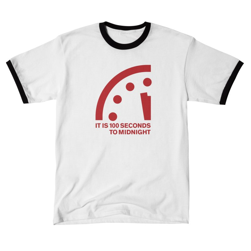 100 Tagline Clock Red Men's T-Shirt by Bulletin of the Atomic Scientists' Artist Shop
