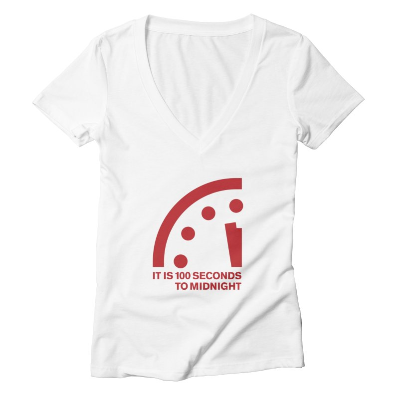 100 Tagline Clock Red Women's V-Neck by Bulletin of the Atomic Scientists' Artist Shop