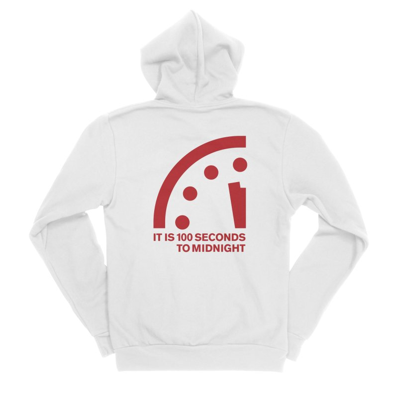 100 Tagline Clock Red Men's Zip-Up Hoody by Bulletin of the Atomic Scientists' Artist Shop