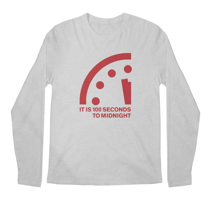 100 Tagline Clock Red Men's Longsleeve T-Shirt by Bulletin of the Atomic Scientists' Artist Shop