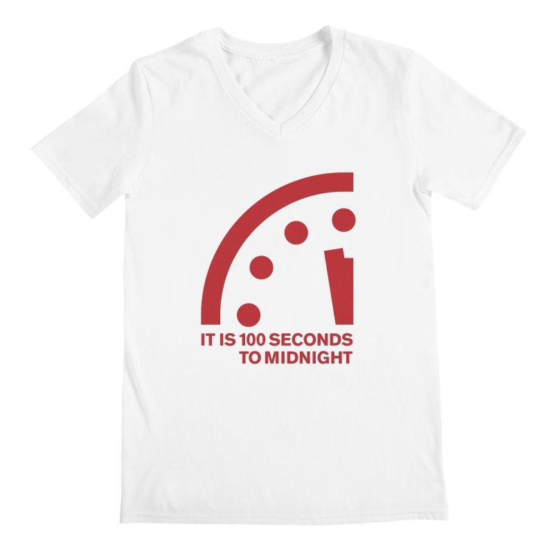 100 Tagline Clock Red Men's V-Neck by Bulletin of the Atomic Scientists' Artist Shop