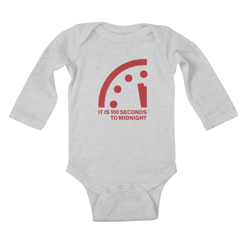 100 Tagline Clock Red Kids Baby Longsleeve Bodysuit by Bulletin of the Atomic Scientists' Artist Shop