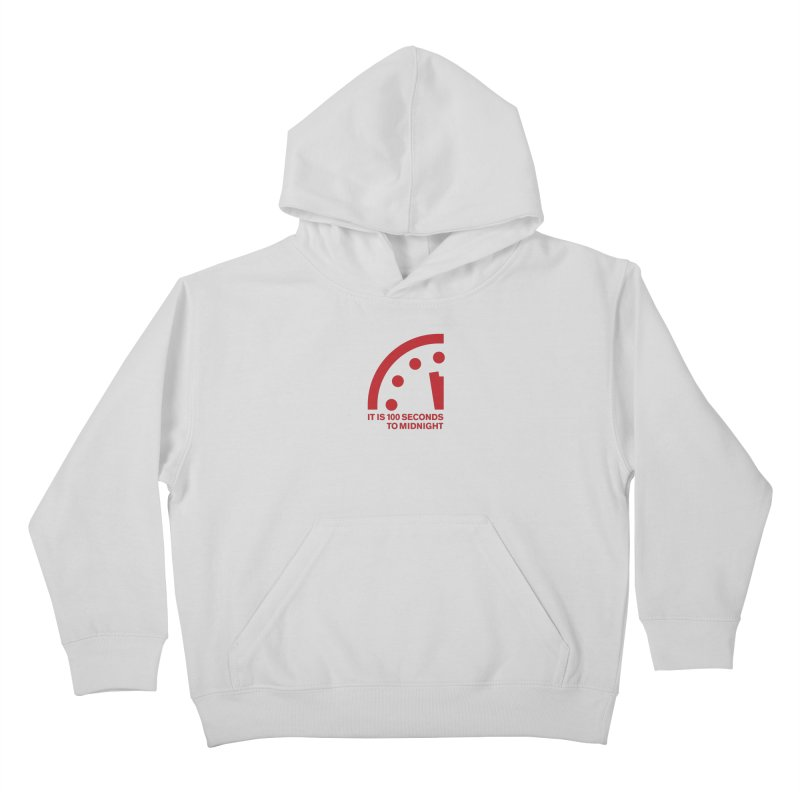 100 Tagline Clock Red Kids Pullover Hoody by Bulletin of the Atomic Scientists' Artist Shop
