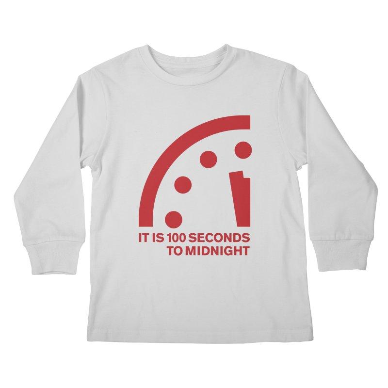 100 Tagline Clock Red Kids Longsleeve T-Shirt by Bulletin of the Atomic Scientists' Artist Shop