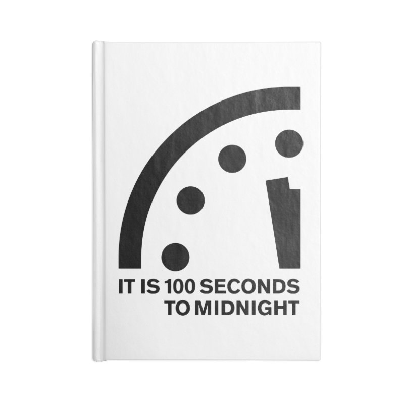 100 Tagline Clock Black Accessories Notebook by Bulletin of the Atomic Scientists' Artist Shop