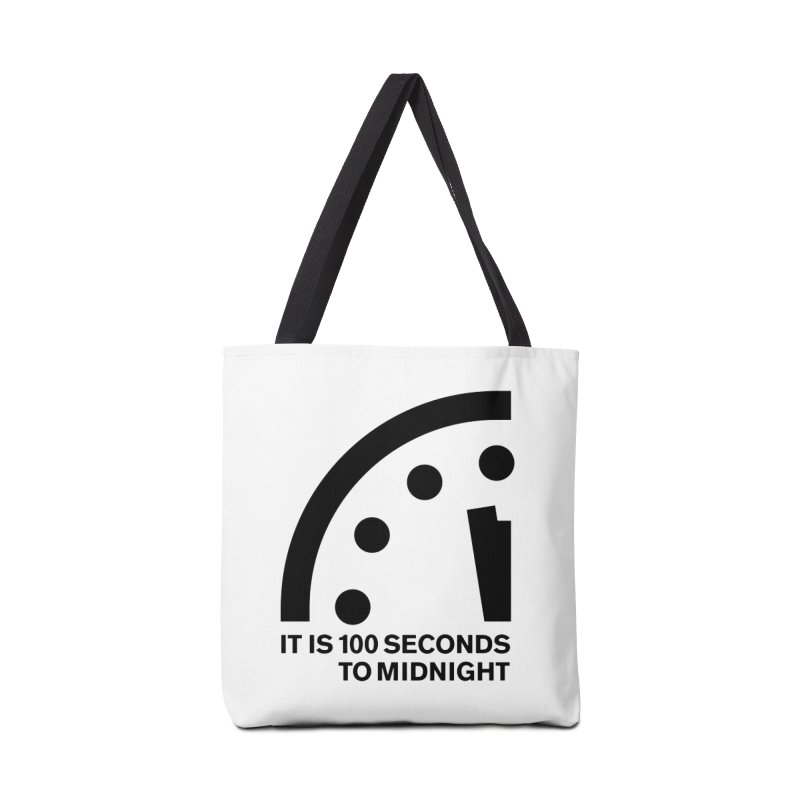 100 Tagline Clock Black Accessories Bag by Bulletin of the Atomic Scientists' Artist Shop