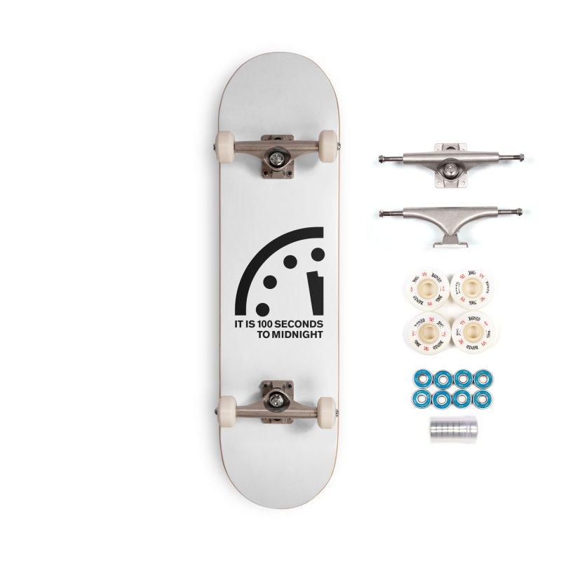 100 Tagline Clock Black Accessories Skateboard by Bulletin of the Atomic Scientists' Artist Shop