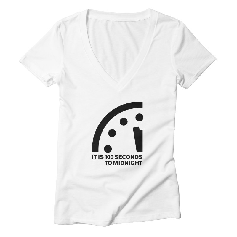 100 Tagline Clock Black Women's V-Neck by Bulletin of the Atomic Scientists' Artist Shop