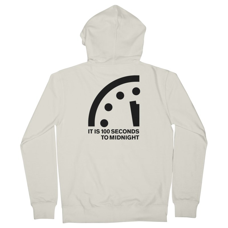 100 Tagline Clock Black Women's Zip-Up Hoody by Bulletin of the Atomic Scientists' Artist Shop