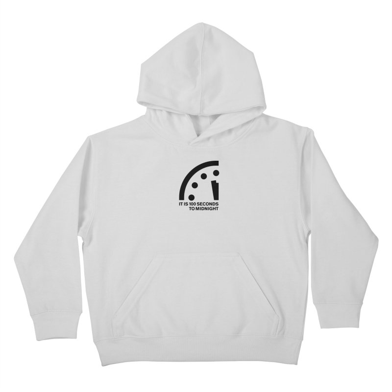 100 Tagline Clock Black Kids Pullover Hoody by Bulletin of the Atomic Scientists' Artist Shop