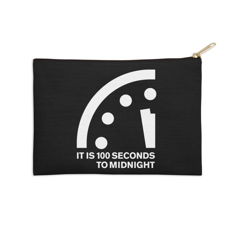 100 Tagline Clock White Accessories Zip Pouch by Bulletin of the Atomic Scientists' Artist Shop