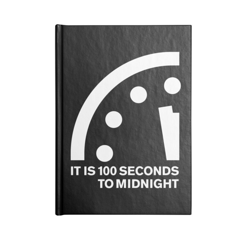 100 Tagline Clock White Accessories Notebook by Bulletin of the Atomic Scientists' Artist Shop