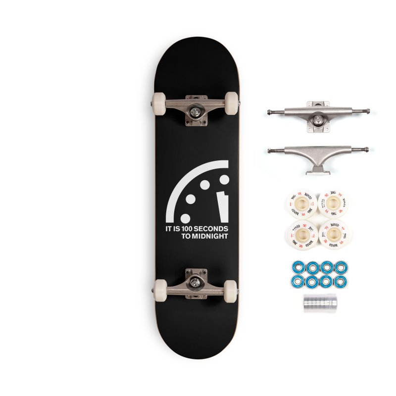100 Tagline Clock White Accessories Skateboard by Bulletin of the Atomic Scientists' Artist Shop