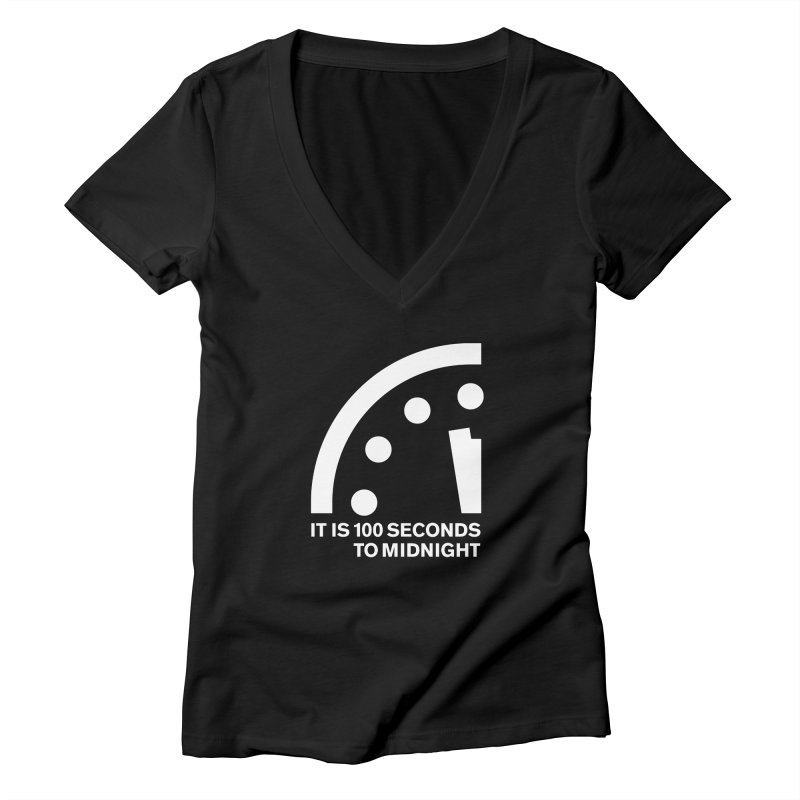 100 Tagline Clock White Women's V-Neck by Bulletin of the Atomic Scientists' Artist Shop
